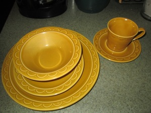 Warm mustard yellow dishes.