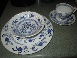Our beautiful Blue Willow dishes.