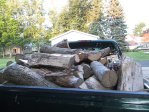We unloaded and stacked this truckload of firewood
