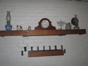 The mantle shelves above the woodstove.