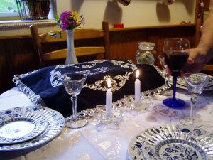 Our regular Shabbat table.