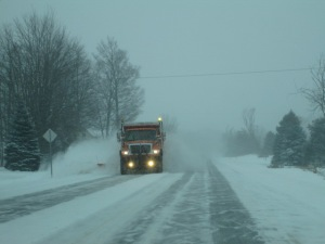 Snowy drive home.