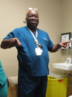 This is Jeffrey, who was a Patient Care Technician intern. He was kind and funny. We enjoyed teasing each other. He gave us a big hug before we left.