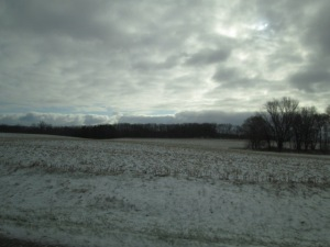 A snow-dusted field