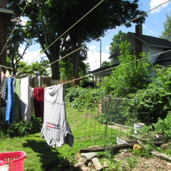 Drying clothes on the clothesline.