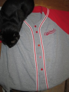 My cool Cardinal shirt...and Luke.