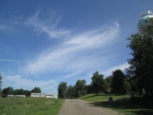 Beautiful wispy clouds in a blue sky.