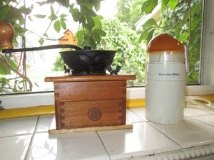 """My old-fashioned coffee grinder and new-fangled """"spice"""" grinder."""