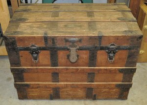 An old steamer trunk