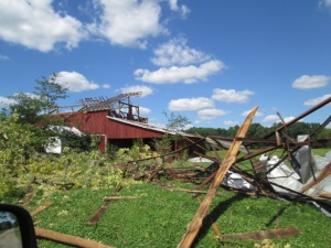 A barn destroyed by Friday's storm.