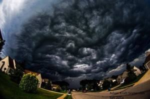 Last night's storm clouds in a city about 30 miles from us were much more dramatic. Photo from local news page.
