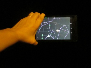 JJ's Tablet showing me the names of the celestrial objects in the sky.