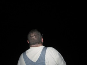 EJ looking up at the stars. My camera is not good enough to capture the stars.