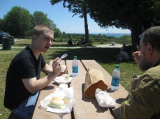Eating pastys at the roadside park