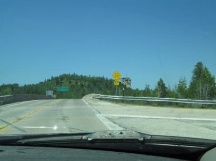 Driving to Castle Rock, which can be seen in the distance.