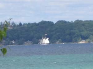 A tall ship sailing in the water.