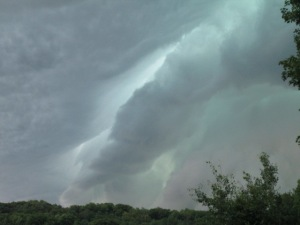 Beautiful scary green cloud