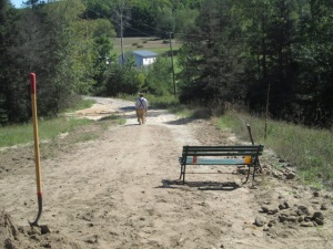 EJ taking a wheelbarrow filled with dirt to dump in a gully.