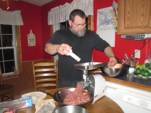 EJ making ground venison.