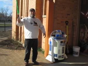 Jedi EJ and R2D2.