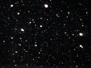 Snow at night.