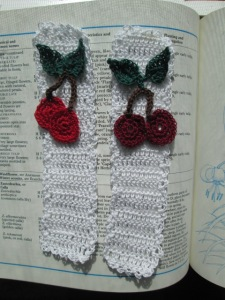 These are the cherry bookmarks I designed.