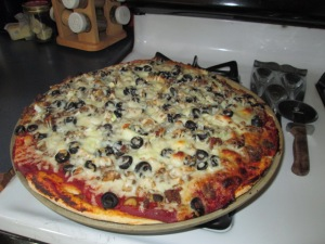 The homemade pizza I made for JJ's birthday.