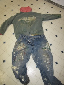 My paint clothes on the floor.