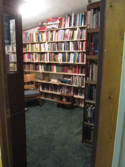 Looking through the door into the library