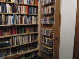 Bookshelves hanging on the closet door