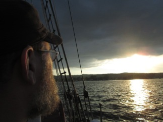 EJ on the Manitou, a tall ship