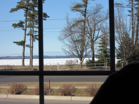 The ice-covered Bay seen through Culver's window.